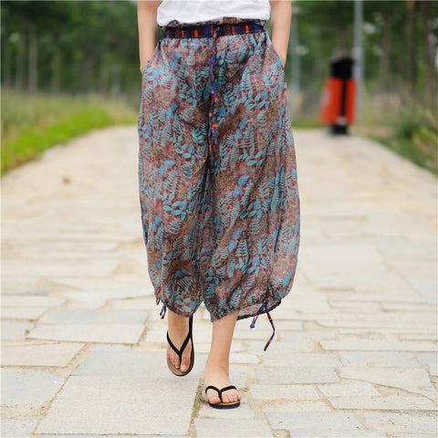 Drawcord linen wide leg pants