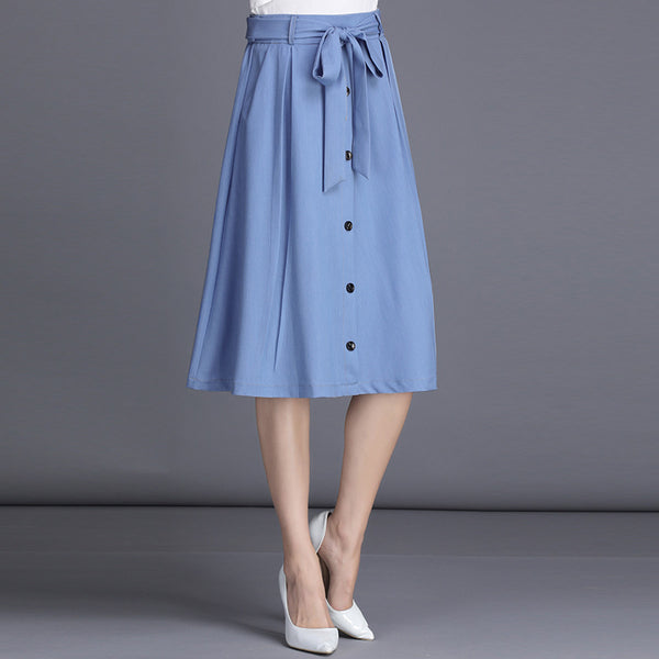 Denim belted a-line skirts - Fancyever