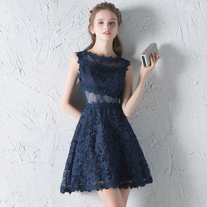 Lace perspective short party dresses - Fancyever