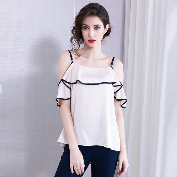 Color-blocked falbala off-the-shoulder camisoles
