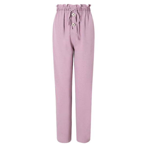Elastic waist drawcord wide leg pants