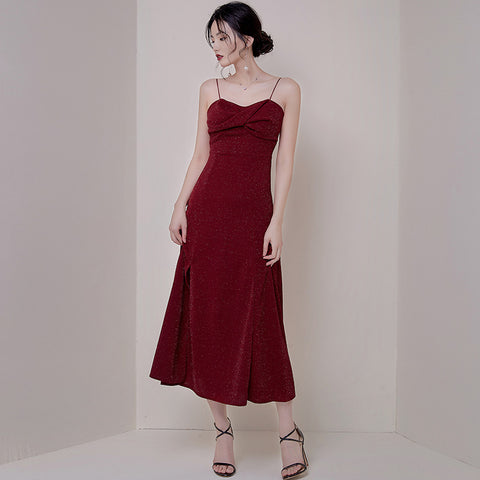 Elegant shine side slit evening party slip dresses