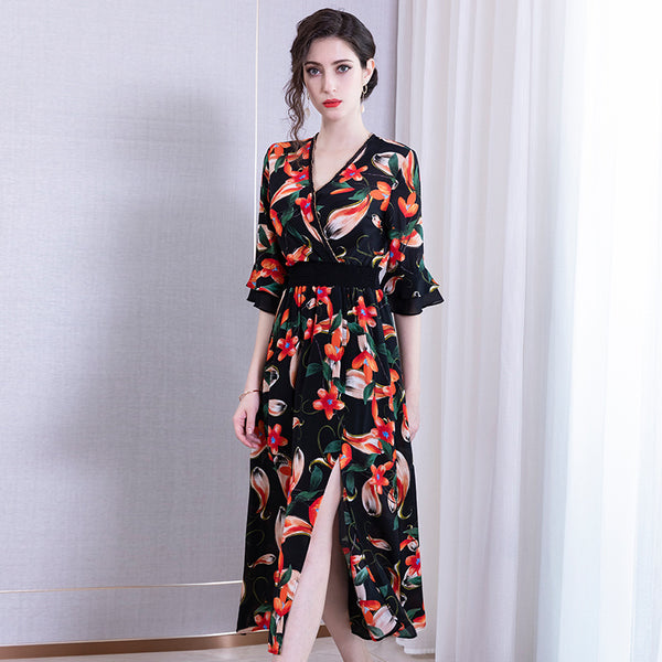 Flared sleeve silk print dresses - Fancyever