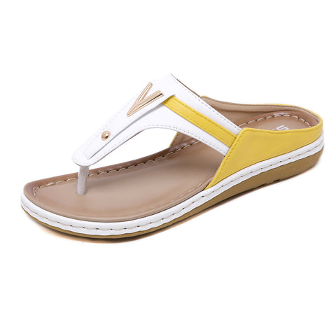 Color block flip flops for women
