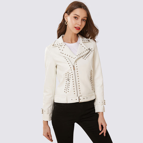 Rivet punk faux leather jackets - Fancyever