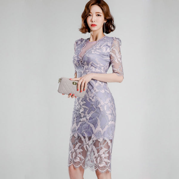 Lace transparent bodycon dresses - Fancyever