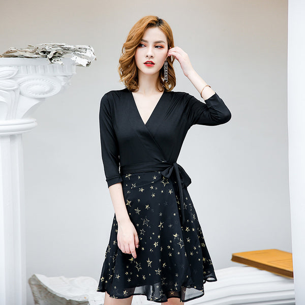 V-neck star print wrap dresses - Fancyever
