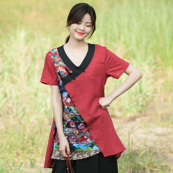 V-neck asymmetric tunics with buttons - Fancyever