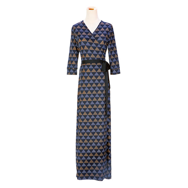 V-neck print long wrap dresses - Fancyever