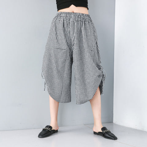 Plaid elastic waist wide leg capri pants