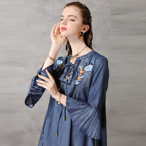 Fashion denim embroidery flare sleeve dresses