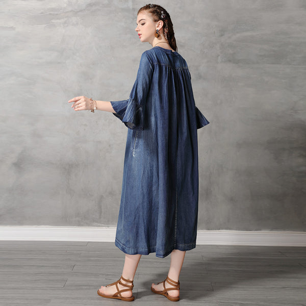 Fashion denim embroidery flare sleeve dresses - Fancyever