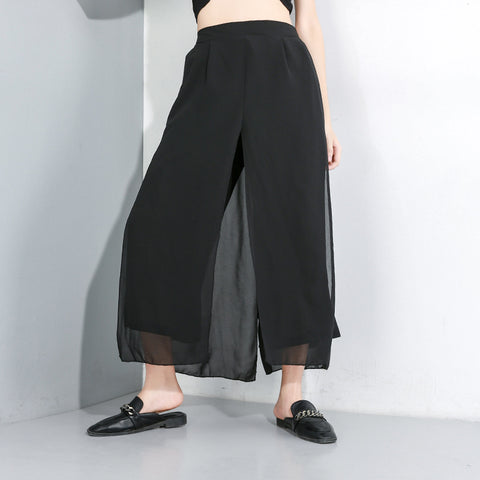 Chiffon cover-up cropped wide leg pants