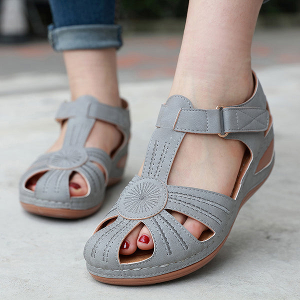 Rounded toe openwork wedge sandals