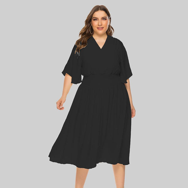 Plus size v-neck elastic waist dresses