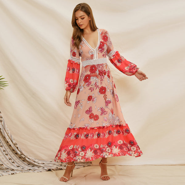Court hollow out print dresses for women - Fancyever