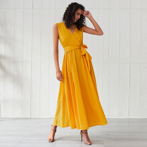 Back slit v-neck belted gathered waist maxi dresses