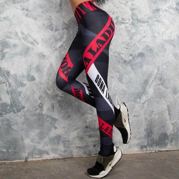 Color-blocked letter print dry fast yoga pants