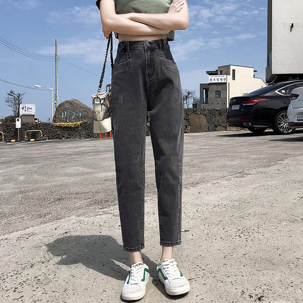 Denim high waisted harem pants - Fancyever