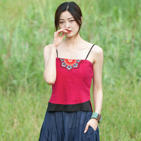 Linen embroidered tied camisoles - Fancyever