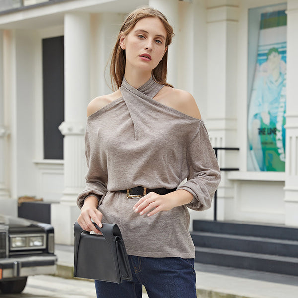 Off-the-shoulder halter sweaters - Fancyever