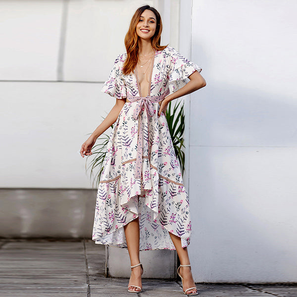 V-neck floral wrap dresses - Fancyever
