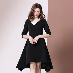 Black v-neck high-low dresses - Fancyever