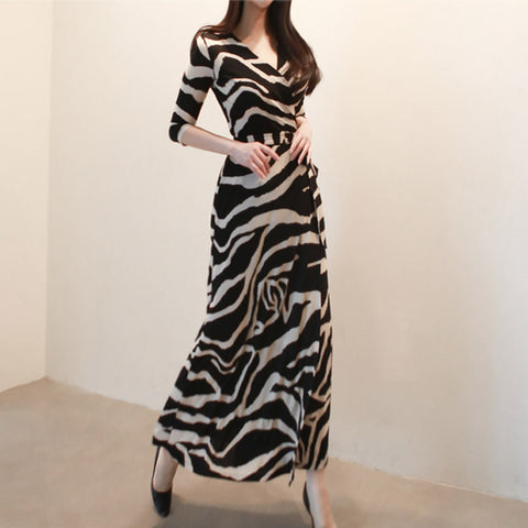 Zebra cross v-neck wrap maxi dresses
