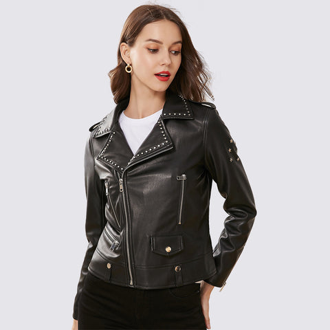 Rivet punk zipper faux leather jackets - Fancyever