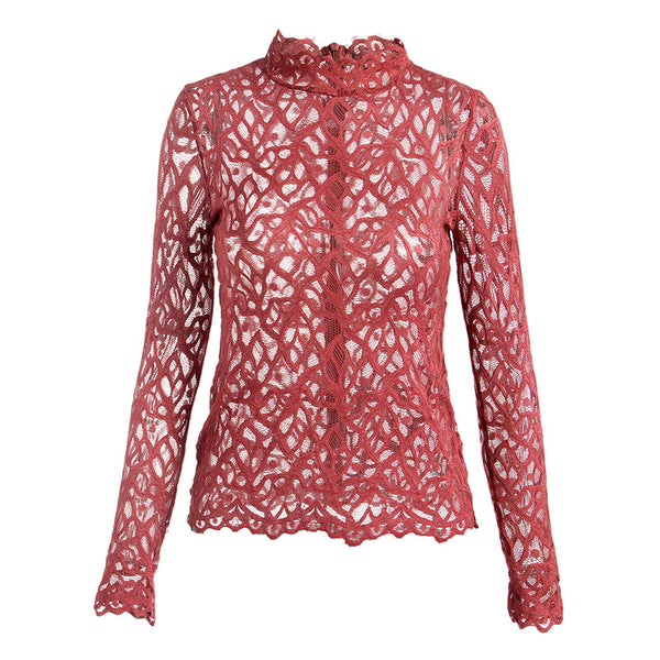 Openwork lace mock neck tops - Fancyever