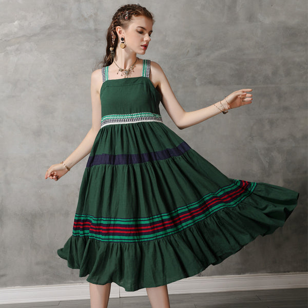 Color-blocked embroidered sun dresses
