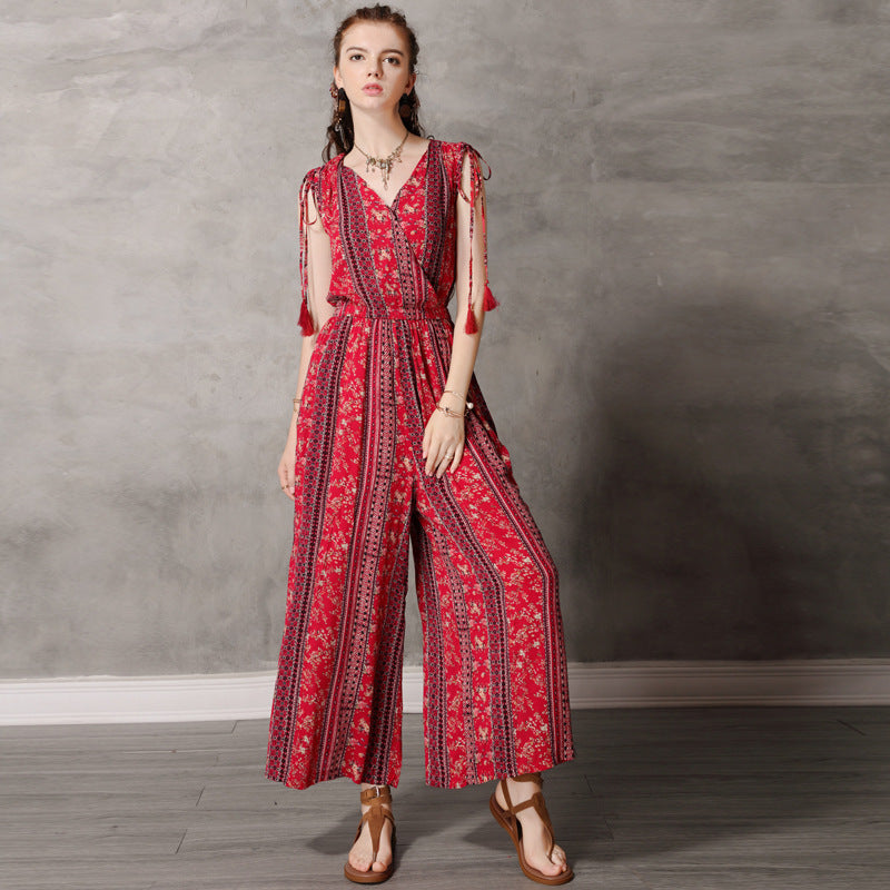 V-Neck print wide leg jumpsuits - Fancyever