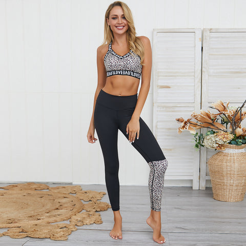 Letter print leopard active top and bottom sets