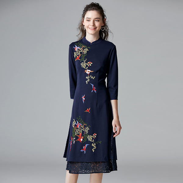 Embroidered cheongsam dresses - Fancyever