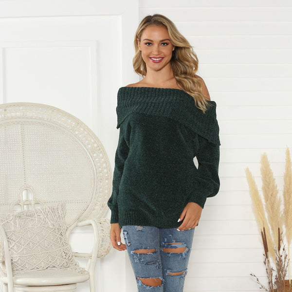 Off-the-shoulder lantern sleeve casual sweaters