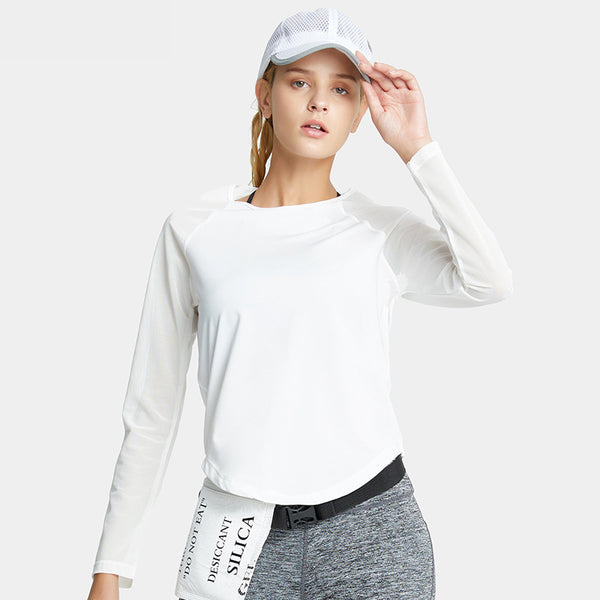 Mesh patchwork yoga running fitness shirts