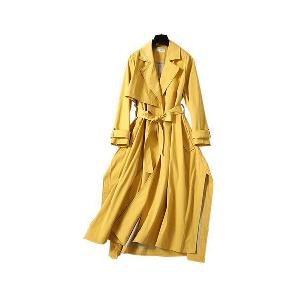 Irregular belted long trench coats - Fancyever