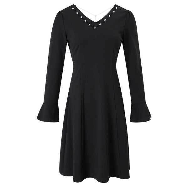 Flare sleeve slim sweater dresses - Fancyever