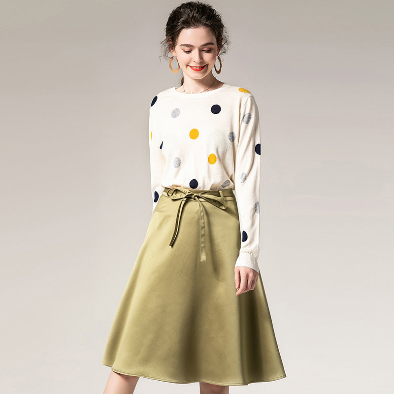 Crew neck dot sweaters & a-line skirts - Fancyever