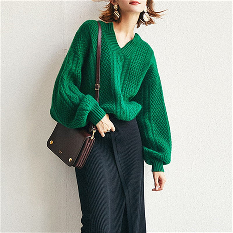 V-neck cable-knit sweaters - Fancyever