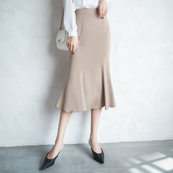 Satin pencil peplum office skirts
