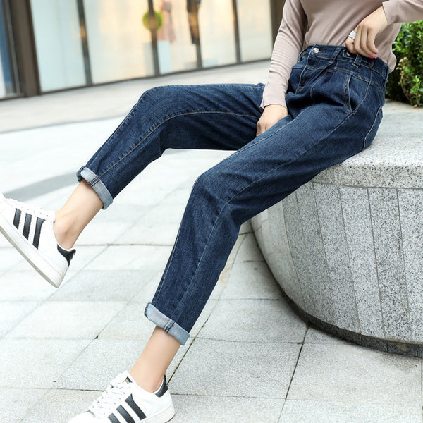 Denim elastic waist harem pants - Fancyever