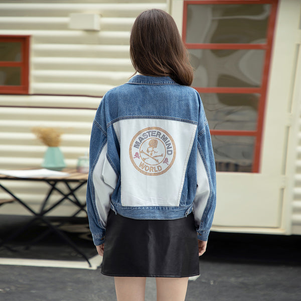 Color-blocked bat sleeve denim jackets