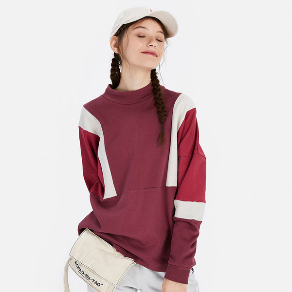 Colorblock loose street mock neck sweatshirts - Fancyever