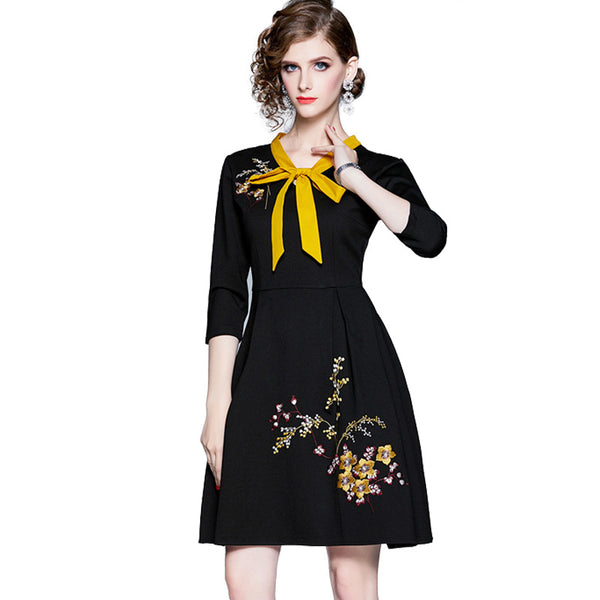 Tie-collar embroidered a-line dresses