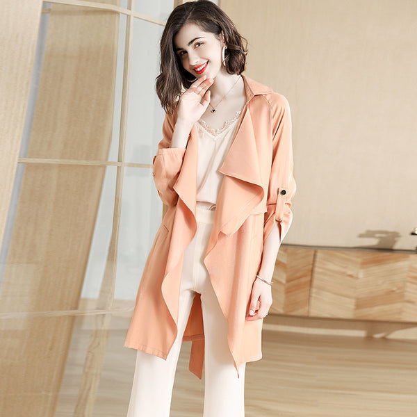 Irregular turn-down collar belted trench coats - Fancyever