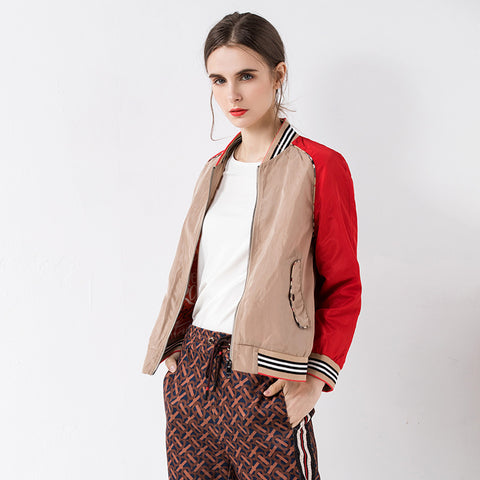 Patchwork stand collar zipper jackets - Fancyever