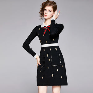 Color-blocked embroidered bowknot knitted dresses