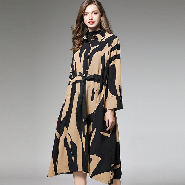Print plus size shirt dresses