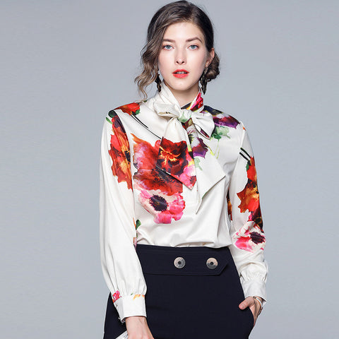 Print tie-collar pullover blouses
